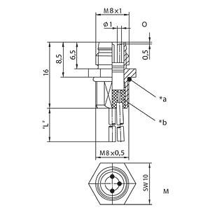 M8-Einbaustecker, 3-polig, Frontmontage BELDEN 11672