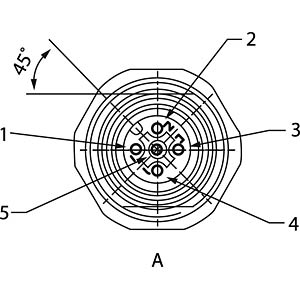 SAL M12x1, 5-pol, Einbaubuchse CONEC 43-01004