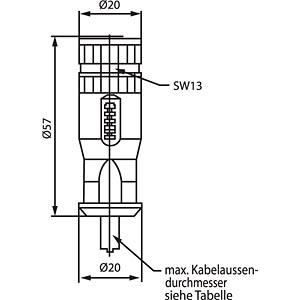 SAL M12 x 1, 5-pin, socket CONEC 43-00094