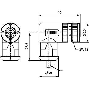 SAL M12 x 1, 5-pin, socket, angled CONEC 43-00098