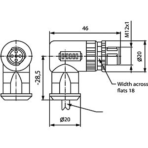 SAL M12x1, 4-pol, Stecker, gewinkelt CONEC 43-00104