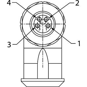 SAL M8x1, 4-pol, Buchse, gewinkelt CONEC 42-00028
