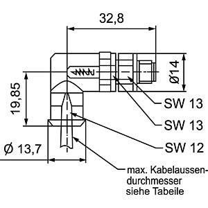 SAL M8 x 1, 3-pin, plug, angled CONEC 42-00025