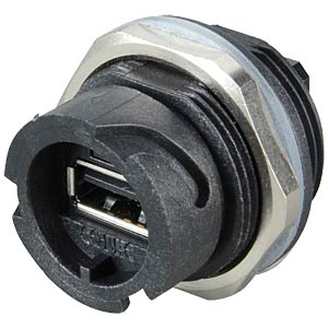 USB 2.0 installation housing, coupler, bayonet, black CONEC 17-200001