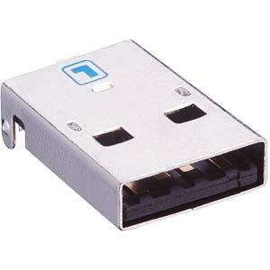 USB panel plug, type A, angled, PCB LUMBERG 2410 08
