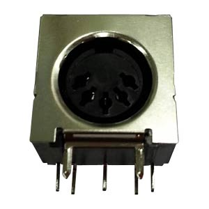 DIN-socket, 5-pin, semi-circular, print, metal pl.
