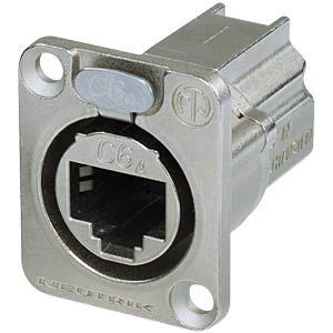 CAT6A panel connector, shielded, nickel NEUTRIK NE8FDX-Y6