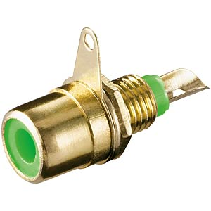 RCA connector, installation, gold-plated with green ring FREI