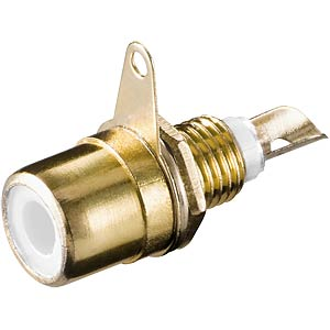 RCA connector, installation, gold-plated with white ring FREI