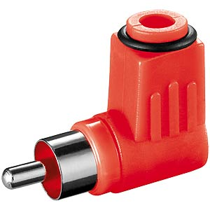RCA connector with bend protection, red, angled FREI
