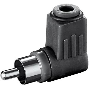 RCA connector with bend protection, black, angled FREI