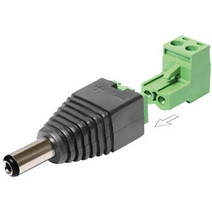 DC 2,1 x 5,5 mm Stecker > Terminalblock 2 Pin /2T DELOCK 65422