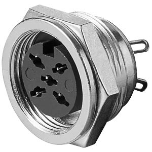 5-pin DIN metal chassis socket, 360° FREI