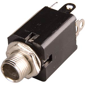 Jack socket, 6.3mm mono, closed, switch contact FREI