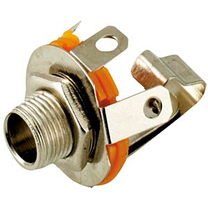 Jack socket, 6.3 mm stereo, cen. mount., switch con. FREI