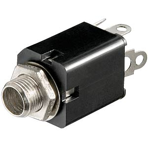 Jack socket, 6.3 mm stereo, closed, switch contact
