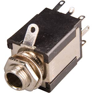 Jack socket, 6.3 mm stereo, closed, switch contact FREI