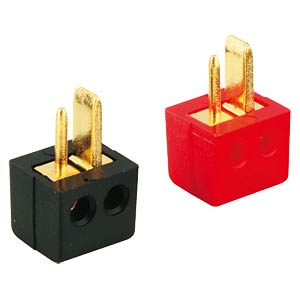 Angled speaker plug, gold-plated, red FREI
