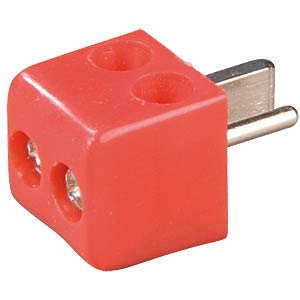 Angled speaker plug, screw connection, red FREI