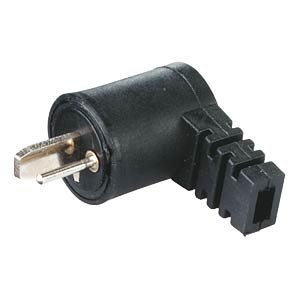 Angled speaker plug, screw connection, black FREI