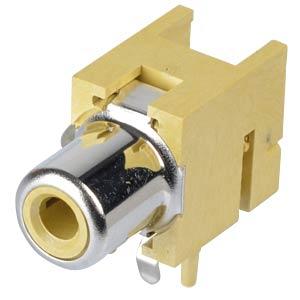 RCA-Einbaukupplung - Print, gewinkelt, GB LUMBERG 1553 02 GELB