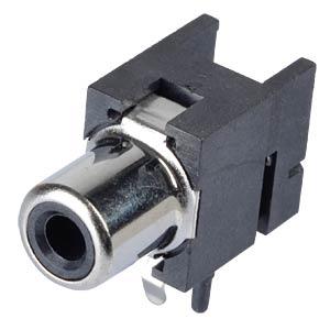 RCA-Einbaukupplung - Print, gewinkelt, SW LUMBERG 1553 02 schwarz
