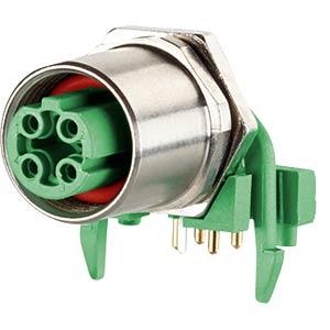 Bushing M12, 4-pin, angled, rear mounting METZ CONNECT