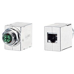 Coupler M12-RJ45, 8-pin, straight METZ CONNECT