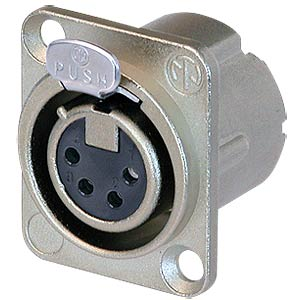 XLR panel jack, 4-pin, silver, nickel-plated, solder NEUTRIK NC4FD-LX