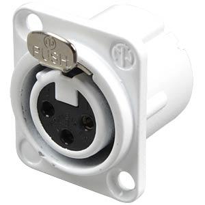 XLR panel jack, 3-pin, silver, white, solder NEUTRIK NC3FD-LX-WT