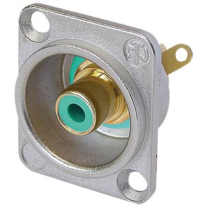 RCA panel jack, silver, green colour ID ring NEUTRIK NF2D-5