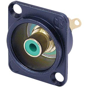 RCA panel jack, black, green colour ID ring NEUTRIK NF2D-B-5