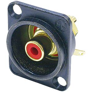 RCA panel jack, black, red colour ID ring NEUTRIK NF2DB-2