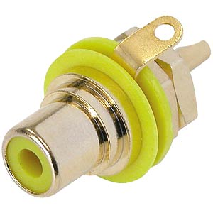RCA panel jack, gold, yellow colour ID ring NEUTRIK NYS367-4