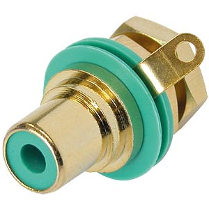 RCA panel jack, gold, green colour ID ring NEUTRIK NYS367-5