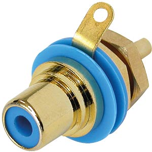 RCA panel jack, gold, blue colour ID ring NEUTRIK NYS367-6