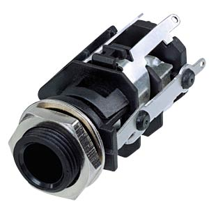 Jack socket 1/4, 5-pin, vertical, soldering lugs REAN RJ5VI-S