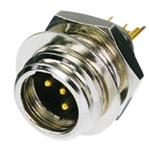 TINY xlr panel connector, 4-pin, wall thicknesses of up to 6 mm REAN RT4MP