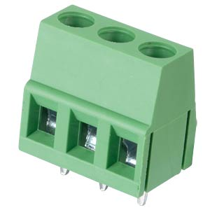 Solderable screw terminal - 3-pole, contact spacing 5 mm, 90° RND CONNECT RND 205-00035