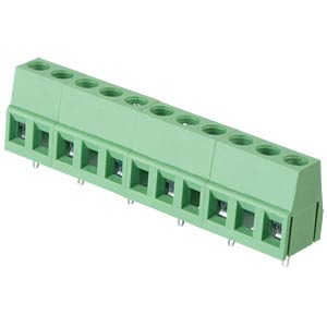 Solderable screw terminal - 6-pole, contact spacing 10 mm, 90° RND CONNECT RND 205-00082