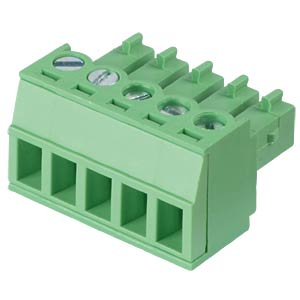 Pluggable screw terminal - 5-pole, contact spacing 3,81 mm, 0° RND CONNECT RND 205-00125