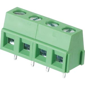 Solderable screw terminal - 4-pole, contact spacing 5,08 mm, 90° RND CONNECT RND 205-00234