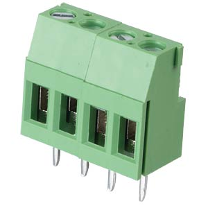 Solderable screw terminal - 4-pole, contact spacing 5,08 mm, 90° RND CONNECT RND 205-00289