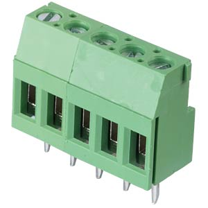 Solderable screw terminal - 5-pole, contact spacing 5,08 mm, 90° RND CONNECT RND 205-00290