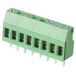 Solderable screw terminal - 8-pole, contact spacing 5,08 mm, 90° RND CONNECT RND 205-00293