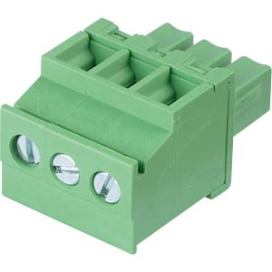 Pluggable screw terminal - 3-pole, contact spacing 3,81 mm, 90° RND CONNECT RND 205-00321