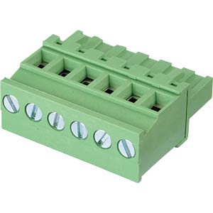 Pluggable screw terminal - 6-pole, contact spacing 5 mm, 90° RND CONNECT RND 205-00346