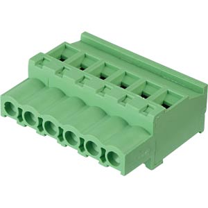 Pluggable screw terminal - 6-pole, contact spacing 5,08 mm, 90° RND CONNECT RND 205-00368