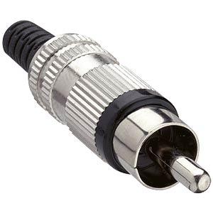 RCA plug, straight, anti-kink protection, metal, black LUMBERG STO 2 SCHWARZ