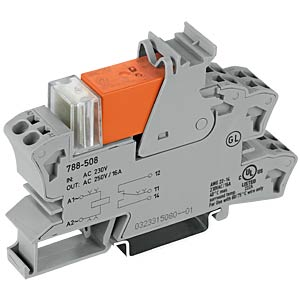 Socket with relay, 1 changeover contact, 230 V AC WAGO 788-508